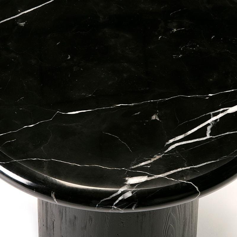 Table d'appoint, bout de canapé, bout de canapé 50x50x50 Bois Marbre Noir - image 50909