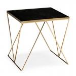 Table d'appoint, bout de canapé 50x50x50 Marbre Noir Métal Doré