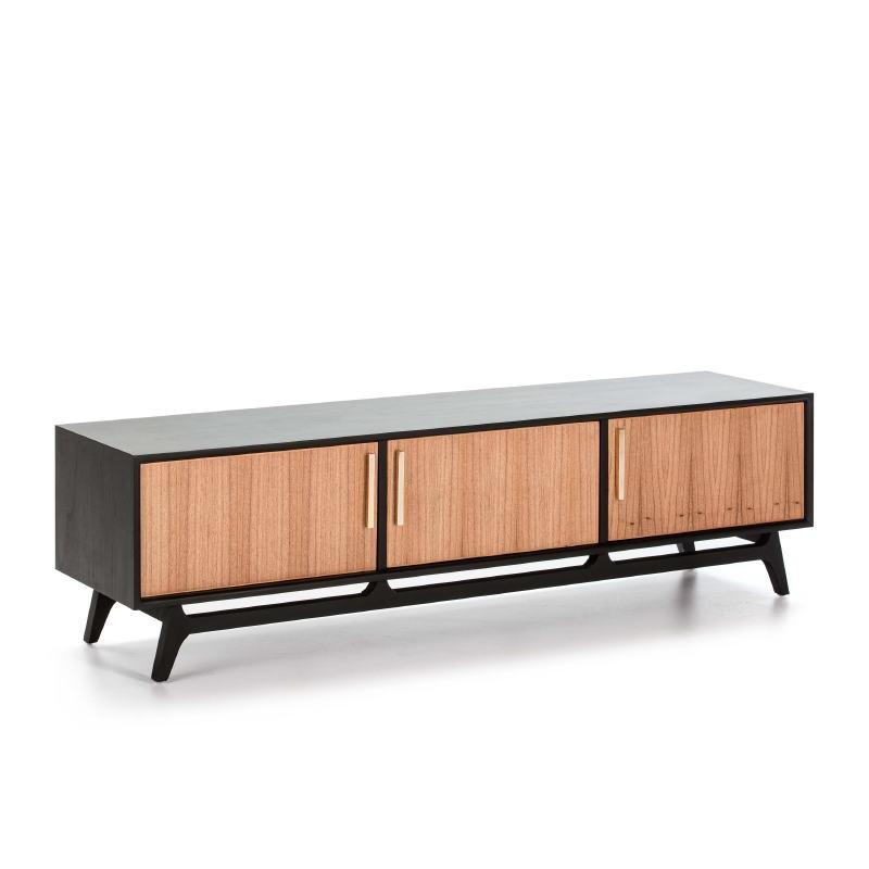 Tv Furniture 3 Doors 160X40X45 Wood Black Natural