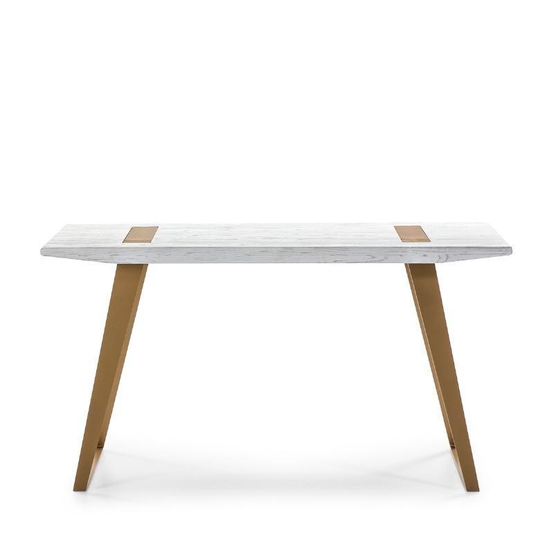 Schreibtisch 140X60X75 Holz/Metall Weiß/Golden - image 51015