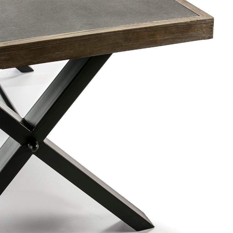 Mesa Comedor 200X90X78 Cemento Madera Natural Metal Negro - image 51051