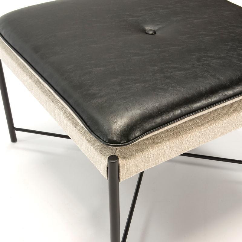 Pouf 60x60x41 Métal Noir tissu Gris Cuir synthétique Noir - image 51084