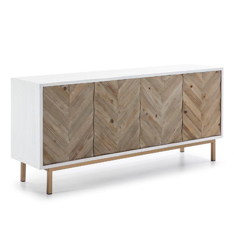 Anrichte 2 Türen 200X45X88 Holz/Metall Weiß/Natürlich/Golden - image 51103