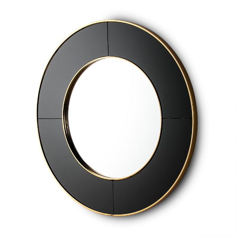 Espejo 80X3X80 Cristal Negro Espejo Metal Dorado - image 51144