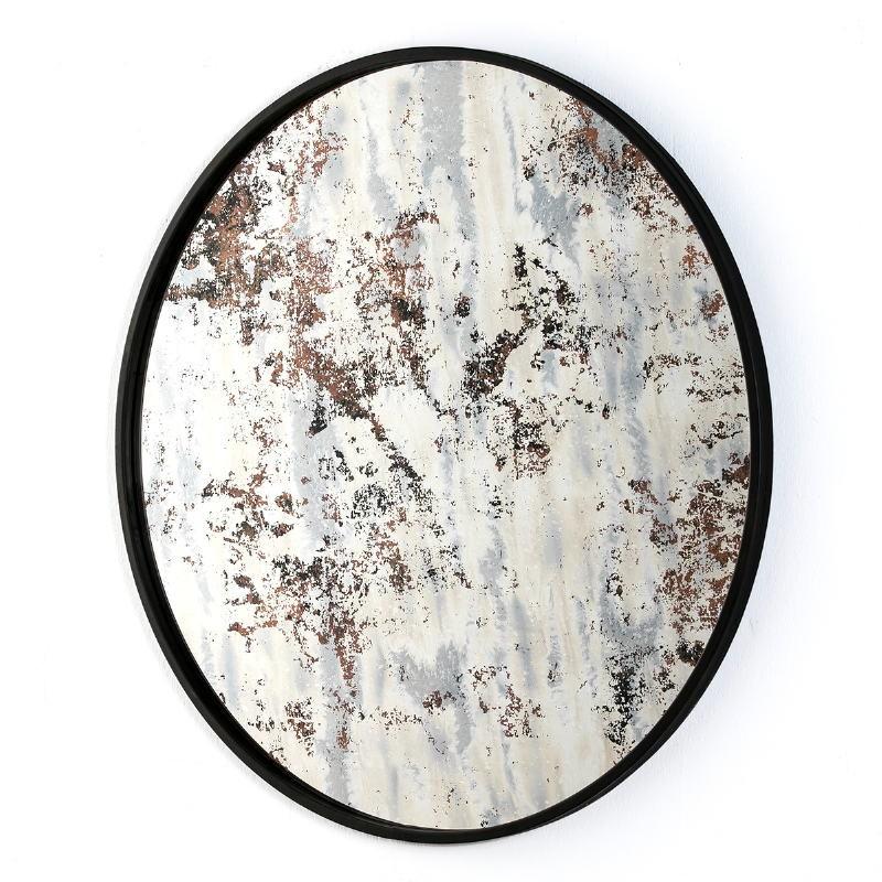 Mirror 80X3X80 Glass Aged Ocre Metal Black