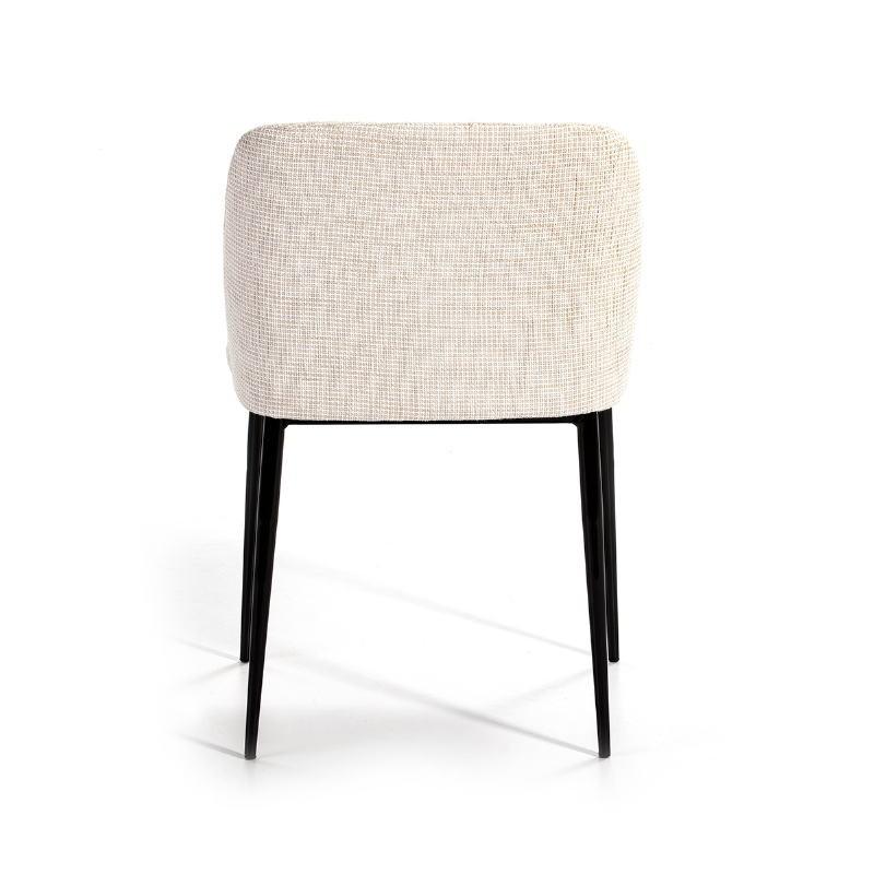 Chaise 56x52x77 Métal Noir tissu Blanc - image 51167