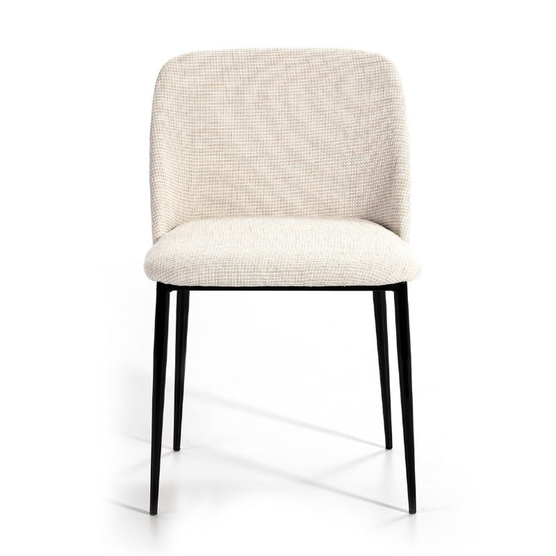 Chair 56X52X77 Metal Black Fabric White - image 51168