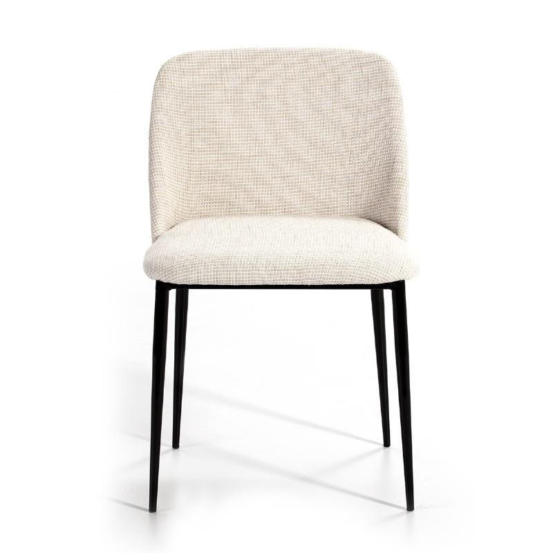 Chaise 56x52x77 Métal Noir tissu Blanc - image 51168