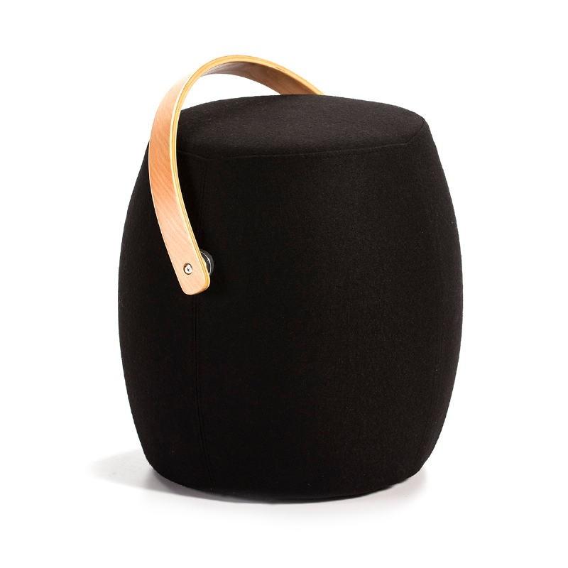 Stool 45X40X46 Wood Natural Fabric Black - image 51172
