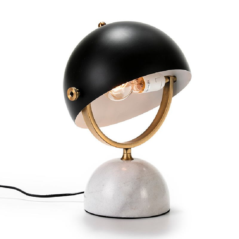 Table Lamp With Lampshade 28X24X40 Marble White Metal Golden Black - image 51192