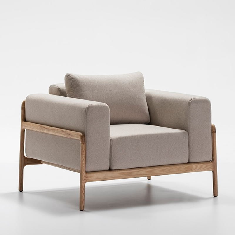 Sessel 96X87X75 Eschenholz/Stoff/Polyester Beige - image 51208