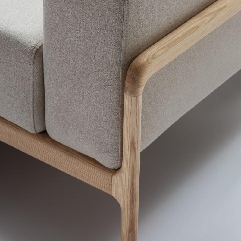 Sessel 96X87X75 Eschenholz/Stoff/Polyester Beige - image 51209