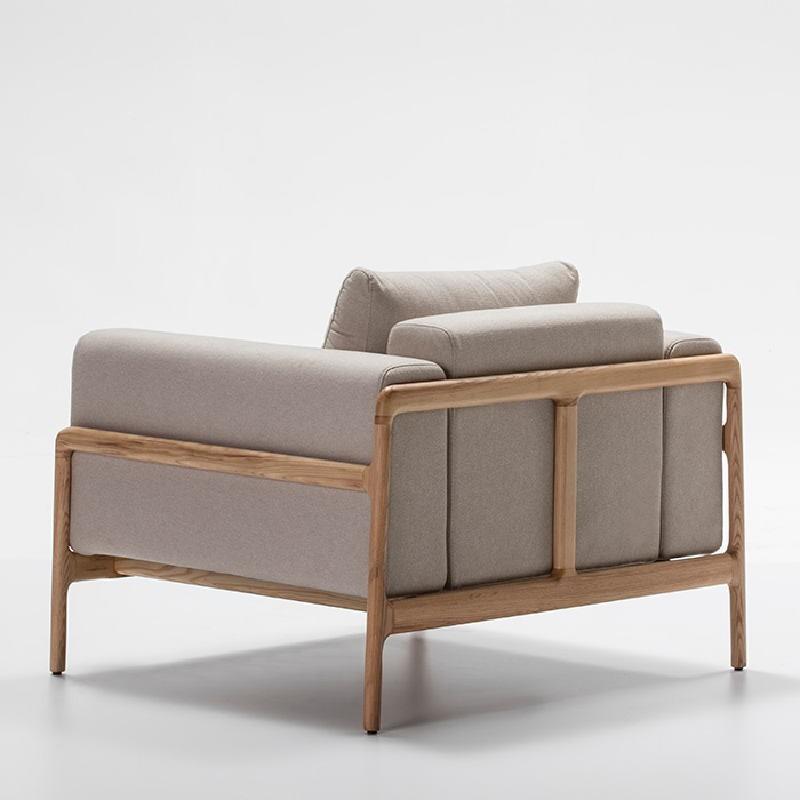 Sessel 96X87X75 Eschenholz/Stoff/Polyester Beige - image 51211