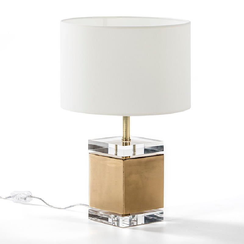 Table Lamp Without Lampshade13X13X34 Acrylic Metal Golden - image 51215