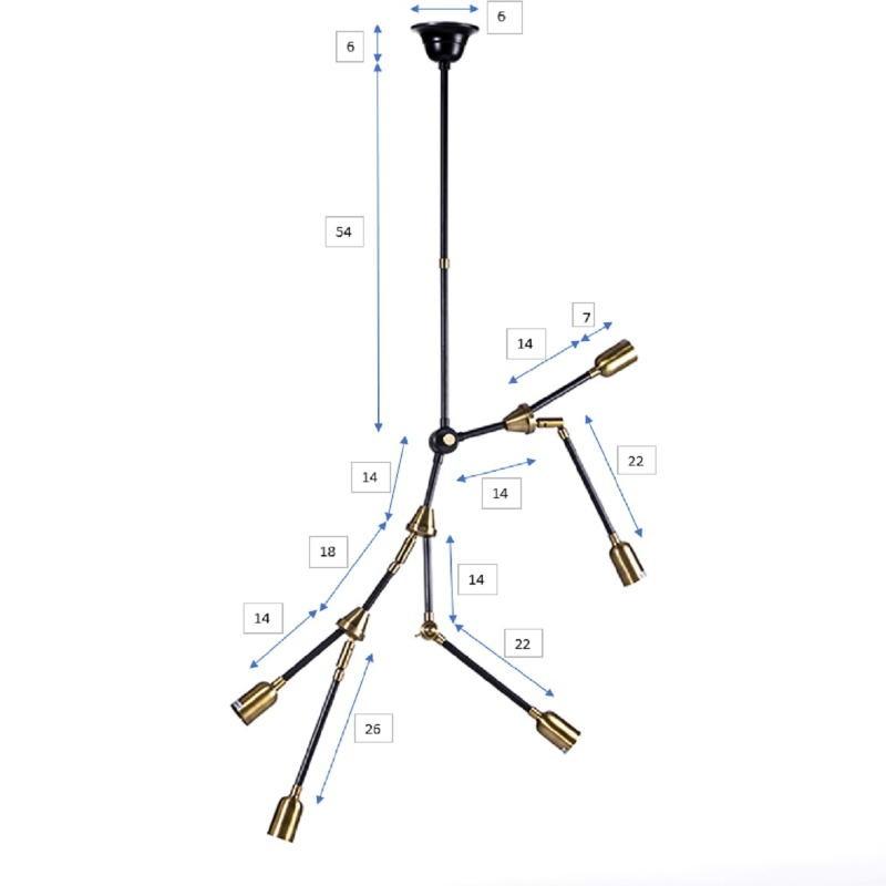 Hanging Lamp 100X6X101 Metal Golden Black - image 51225