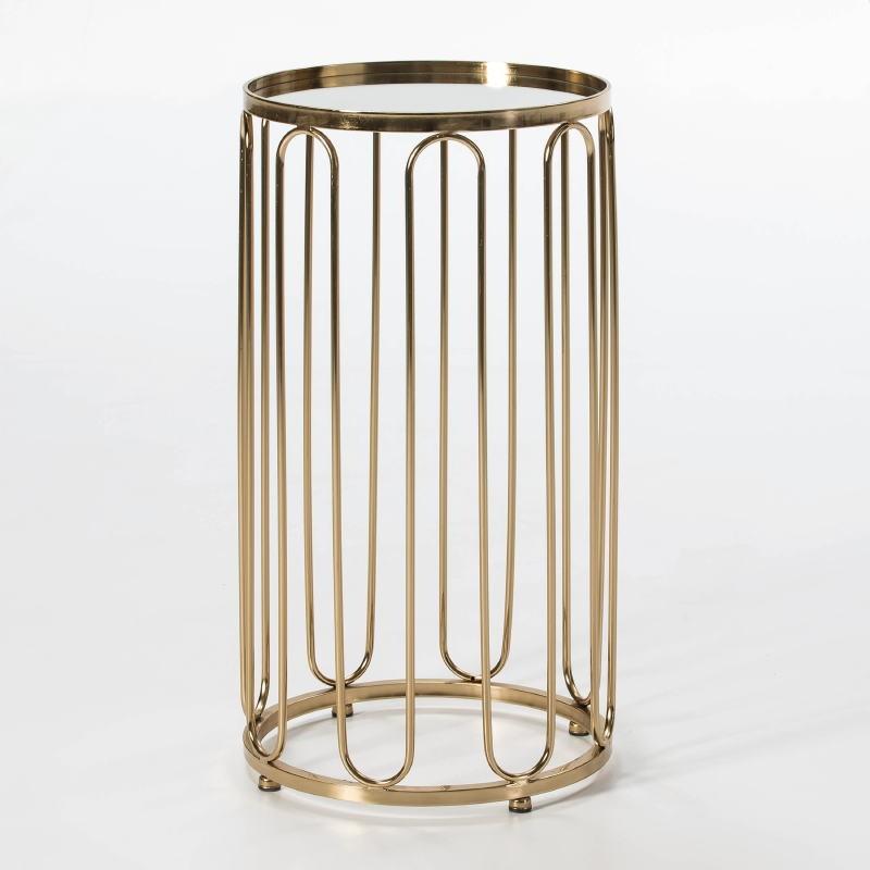 Table d'appoint, bout de canapé 41x41x73 Miroir Métal Doré - image 51259