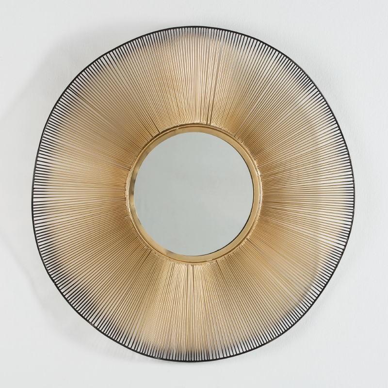 Spiegel 75X4X75 Glas/Metall Golden/Schwarz - image 51275