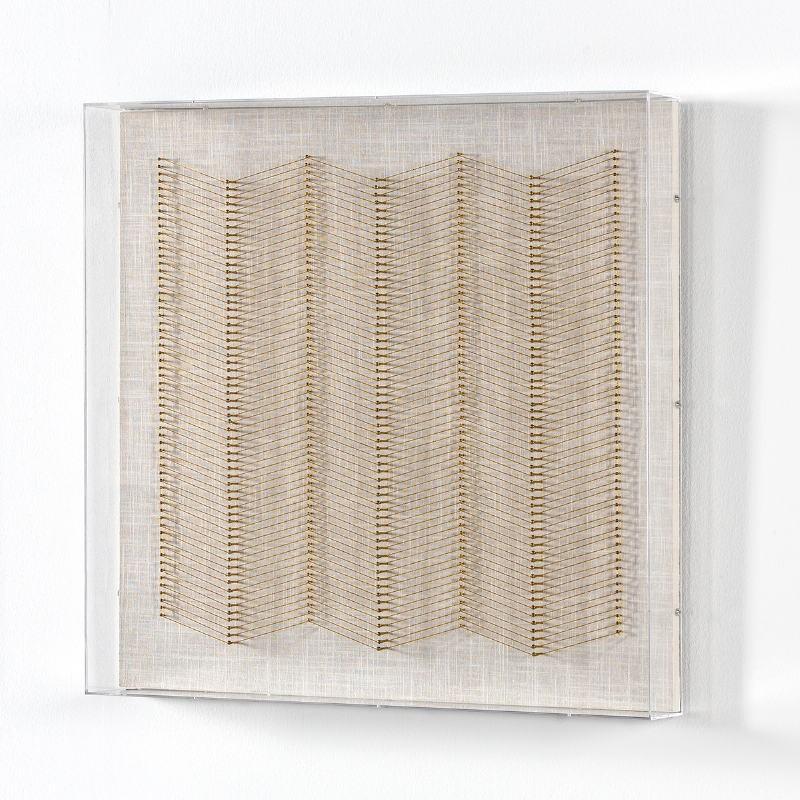 Tableau 60x8x60 Fils Doré Acrylique Transparent - image 51286
