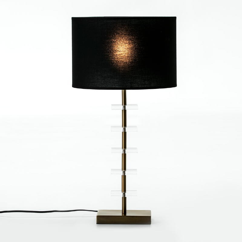 Table Lamp Without Lampshade 15X11X43 Metal Golden Acrylic Transparent