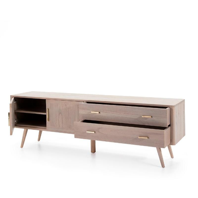Sideboard 2 Doors 2 Drawers 199X45X66 Wood Grey - image 51295
