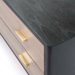 Anrichte 2 Türen 2 Schubladen 199X45X66 Holz Schwarz/Grau