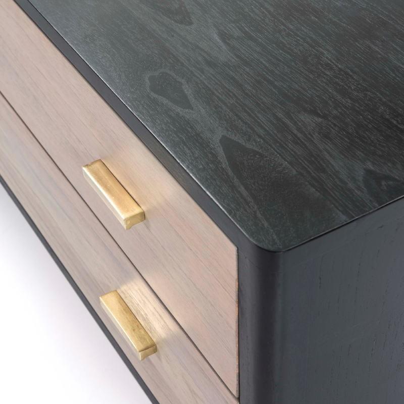 Buffet 2 portes 2 tiroirs 199x45x66 Bois Noir Gris - image 51304