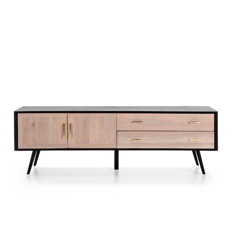 Sideboard 2 Doors 2 Drawers 199X45X66 Wood Black Grey - image 51308