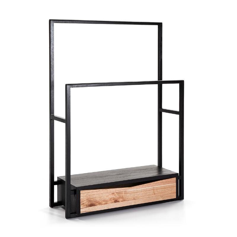Kleiderständer / Hosenbügler 103X36X150 Holz Schwarz/Natürlich