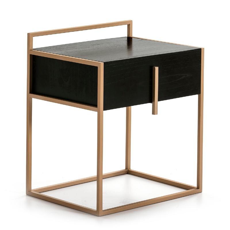 Table de chevet 1 tiroir 50x40x60 Bois Noir Métal Doré