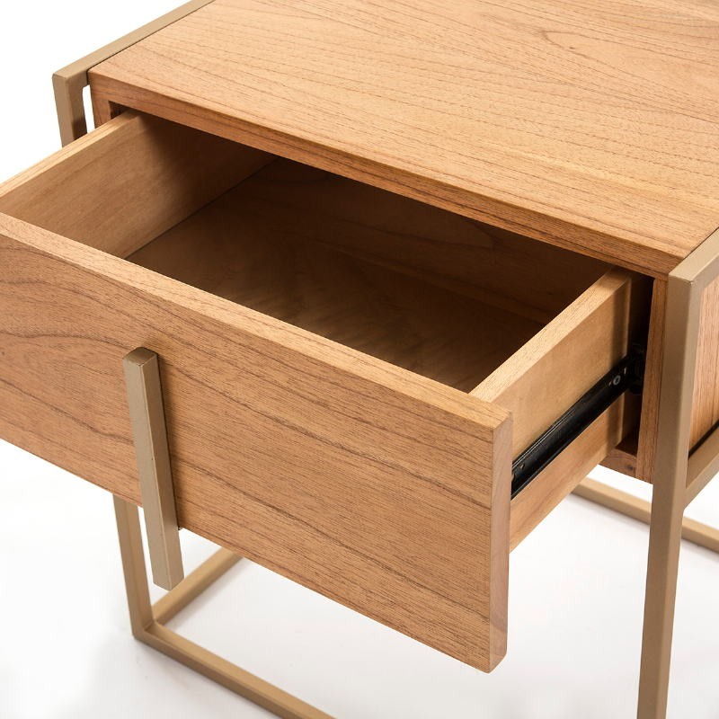 Bedside Table 1 Drawer 50X40X60 Wood Natural Metal Golden - image 51329