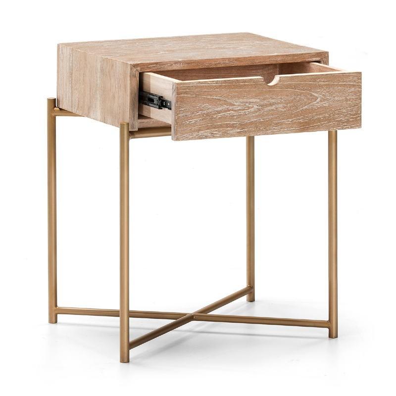 Table de chevet 1 tiroir 50x40x62 Bois Blanc blanchi Métal Doré - image 51333