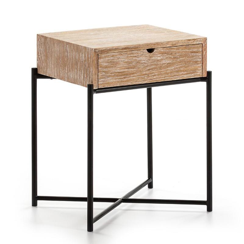 Table de chevet 1 tiroir 50x40x62 Bois Blanc blanchi Métal Noir