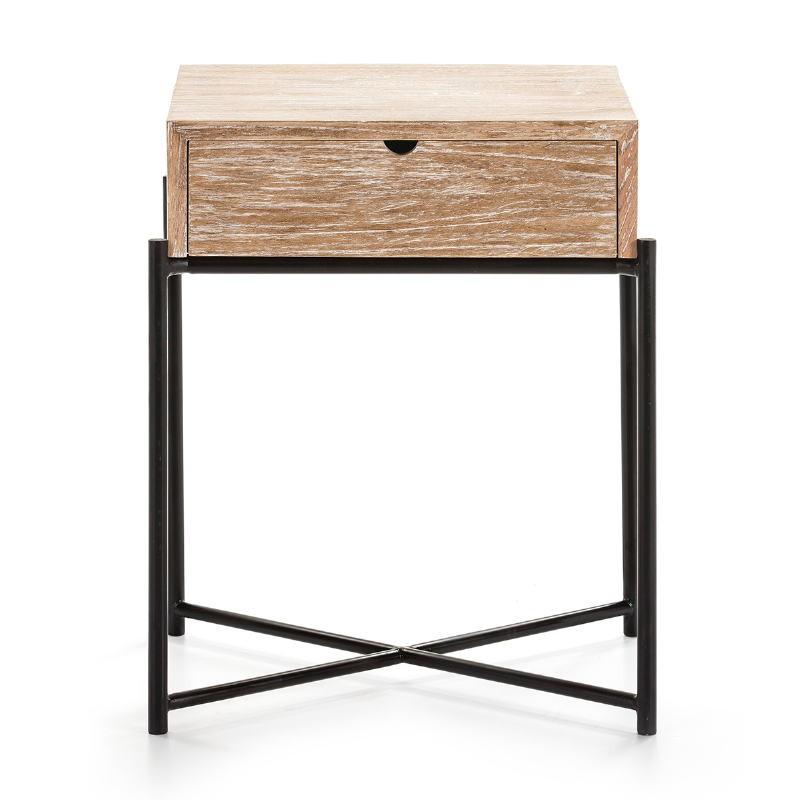 Bedside Table 1 Drawer 50X40X62 Wood White Washed Metal Black - image 51338