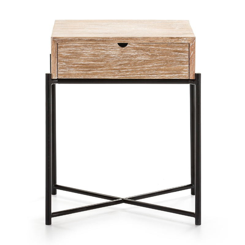 Table de chevet 1 tiroir 50x40x62 Bois Blanc blanchi Métal Noir - image 51338