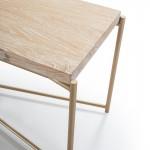 Tv Furniture 160X40X50 Wood White Washed Metal Golden
