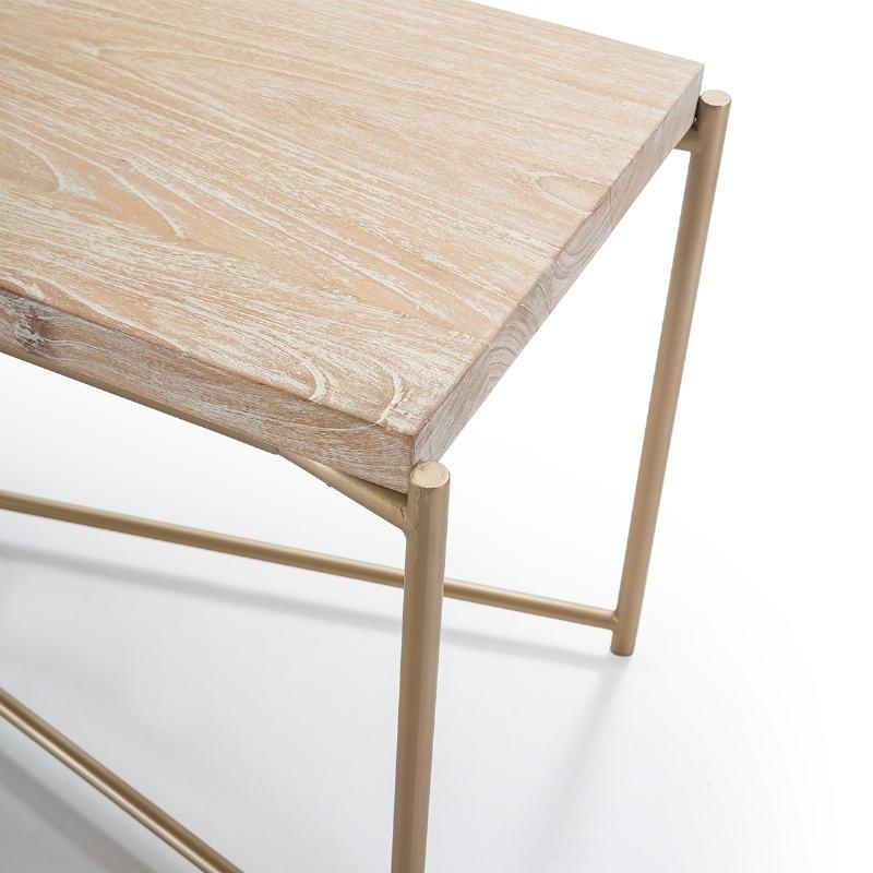 Tv Furniture 160X40X50 Wood White Washed Metal Golden - image 51348