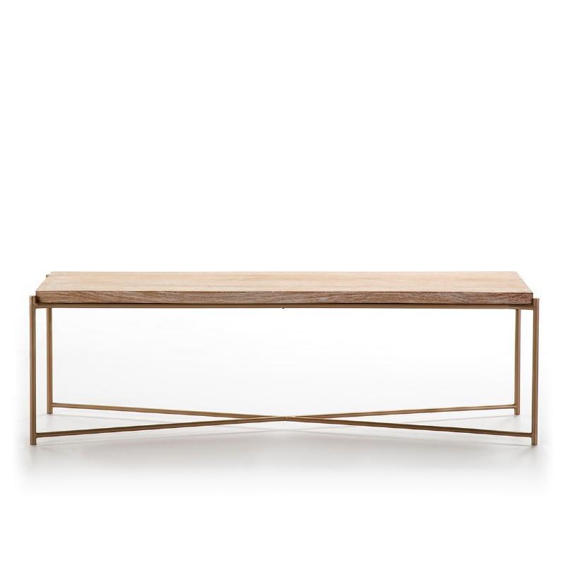 Tv Furniture 160X40X50 Wood White Washed Metal Golden - image 51349