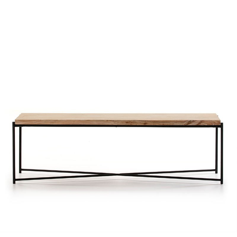 Tv Furniture 160X40X50 Wood White Washed Metal Black - image 51352