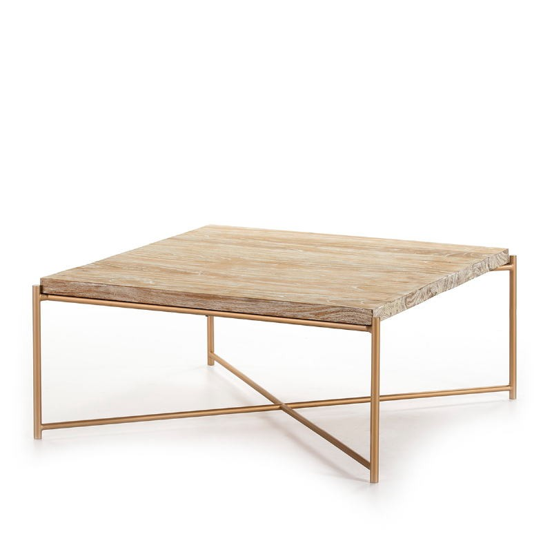Coffee Table 90X90X40 Wood White Washed Metal Golden - image 51353