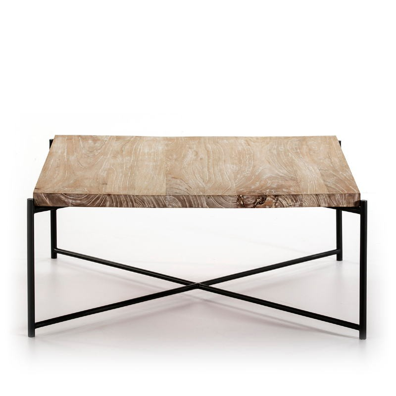 Coffee Table 90X90X40 Wood White Washed Metal Black - image 51358
