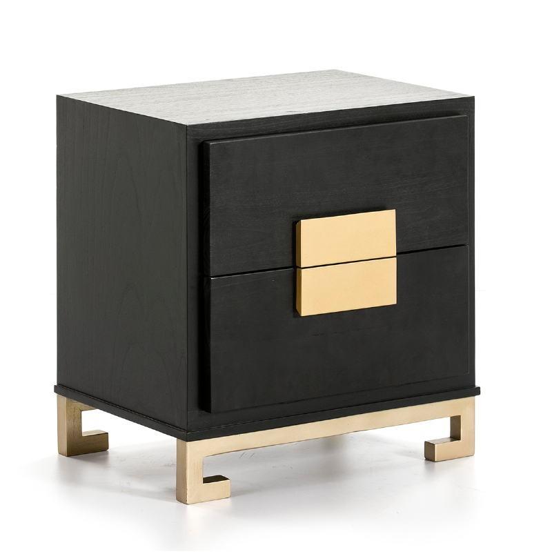 Nachttisch 2 Schubladen 56X41X60 Golden Black Wood - image 51364
