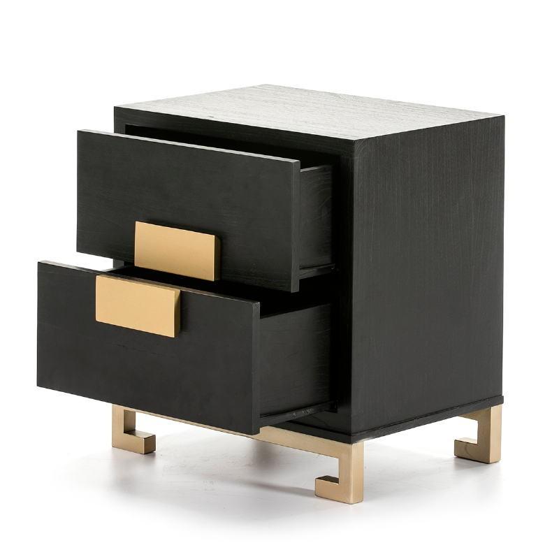 Bedside Table 2 Drawers 56X41X60 Wood Black Golden - image 51366