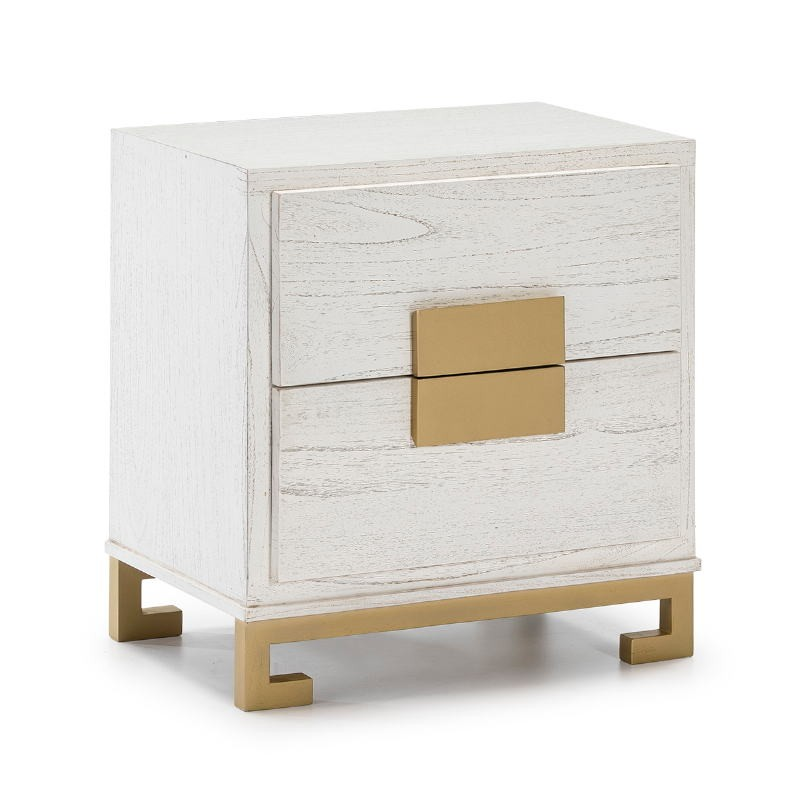 Table de chevet 2 tiroirs 56x41x60 Bois Blanc Doré