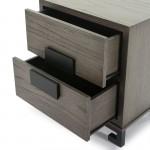 Table de chevet 2 tiroirs 56x41x60 Bois Gris Noir