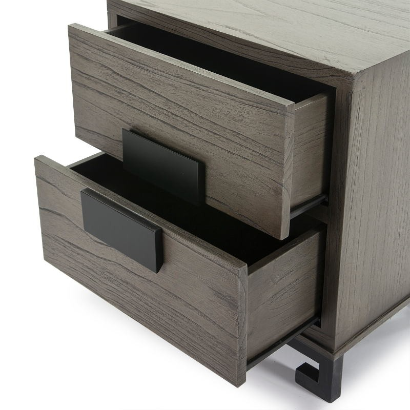 Bedside Table 2 Drawers 56X41X60 Wood Grey Black - image 51373