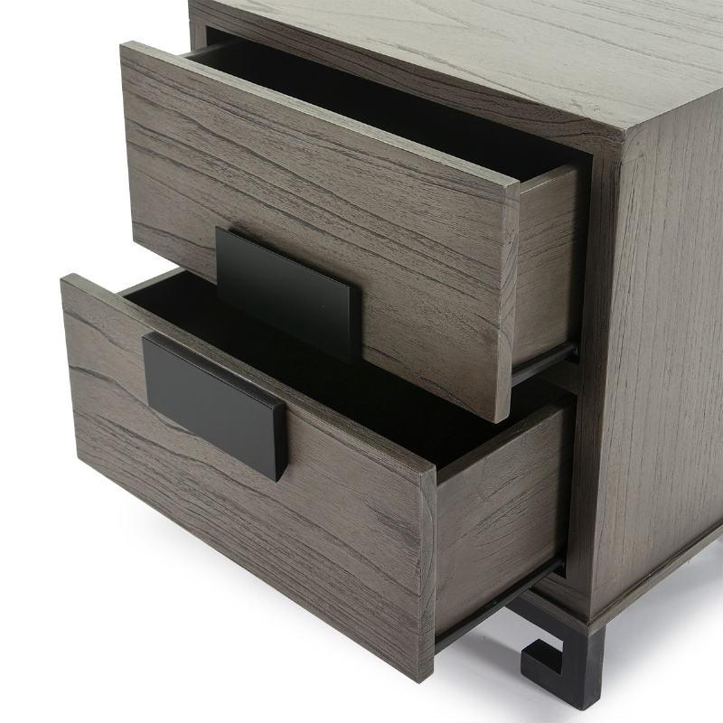 Table de chevet 2 tiroirs 56x41x60 Bois Gris Noir - image 51373