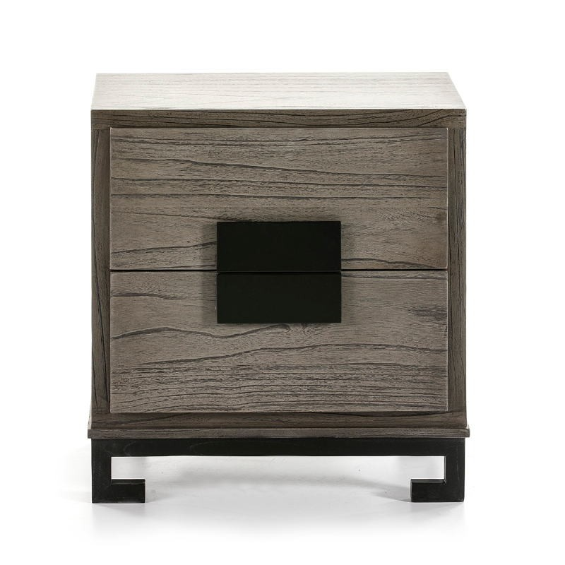 Bedside Table 2 Drawers 56X41X60 Wood Grey Black - image 51374