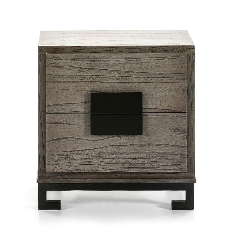 Table de chevet 2 tiroirs 56x41x60 Bois Gris Noir - image 51374