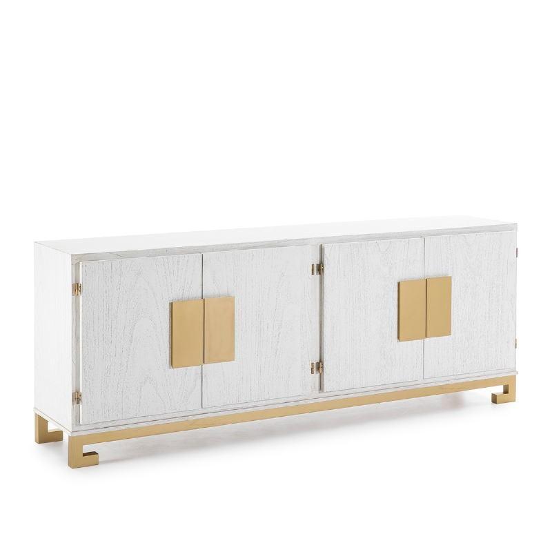 Buffet 4 Porte 201X43X78 Legno Bianco Dorato