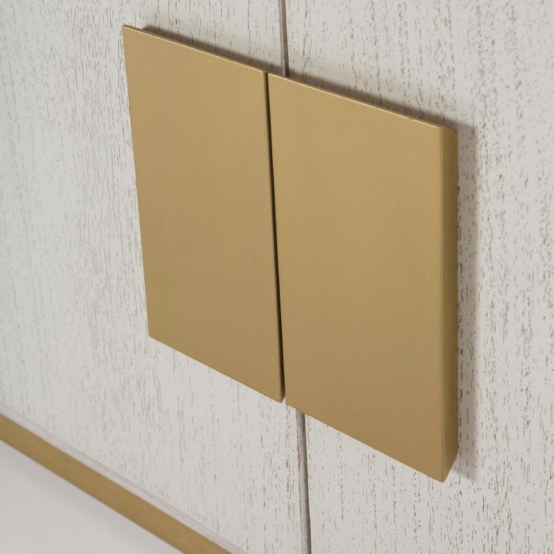 Aparador 4 Puertas 201X43X78 Madera Blanco Dorado - image 51380